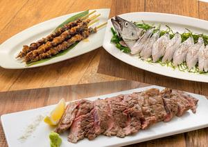 熟成牛サーロイン、自家製手羽先、太刀魚一本炙り刺しを楽しむ欲張りプラン