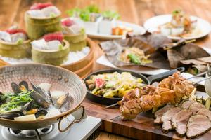 ◆秋プラン◆ 秋鮭の創作朴葉焼きと名物!豪快肉盛りが楽しめる秋の味覚満載プラン