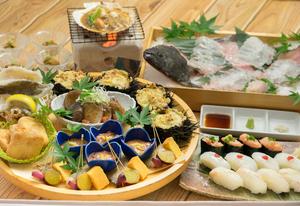 平目の氷室姿造りと北海道皿鉢・函館産ホタテのバター醤油焼きコース