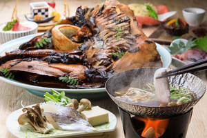 【静岡特産尽くし】 しずまえ太刀魚のしゃぶしゃぶ!豪華・鮪の兜煮と3種の地酒を愉しむ!駿河郷土会席プラン【120分飲み放題付き】