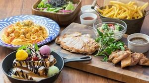 【カフェで宴会】肉盛り!トマトクリームパスタとワッフルパフェのCafe Partyプラン