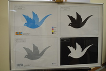 最優秀賞作品(岡本美耶さん作品)和洋のWとYをイメージしとりを書いておちつきを表現しました。