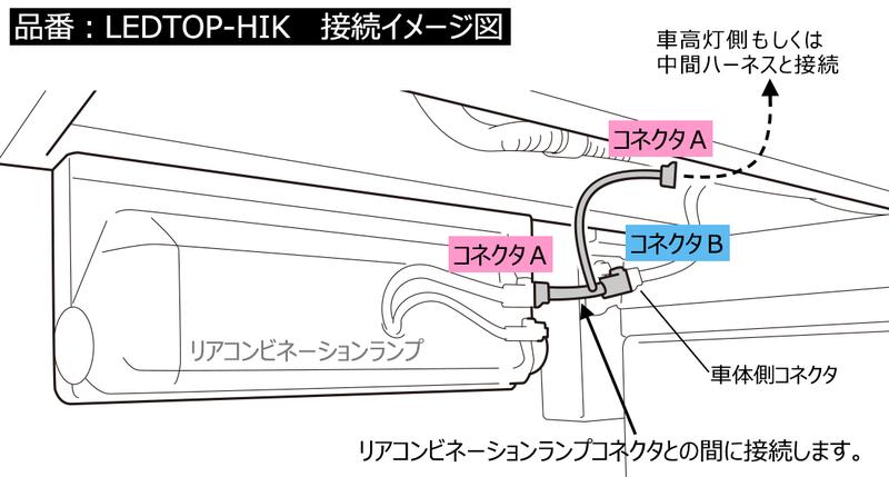 分岐ハーネス【LEDTOP-HIK】  接続方法