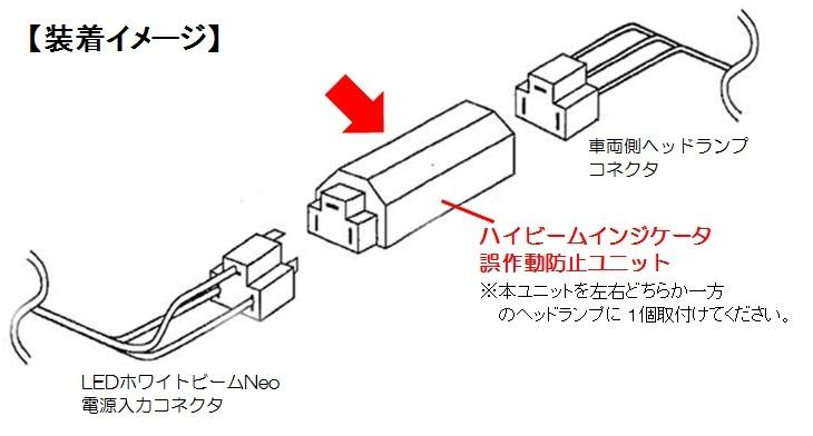 ハイビームインジケータ誤作動防止ユニット装着イメージ