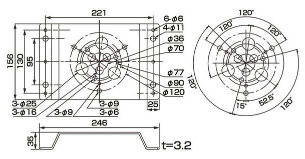 PKL-130/PKL-156用  取付けM金具   寸法(mm)
