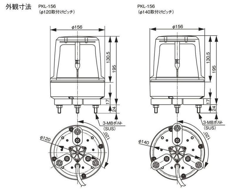 φ120/φ140取付けピッチ   寸法(mm)
