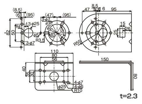 PKL-106用 取付けL金具   寸法(mm)
