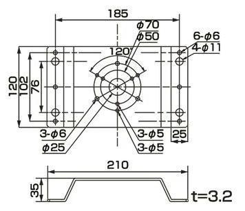 PKL-106用 取付けM金具   寸法(mm)