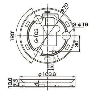 PKL-106用 ラバーベース   寸法(mm)