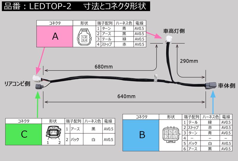 分岐ハーネス【LEDTOP-2】  (オプション)