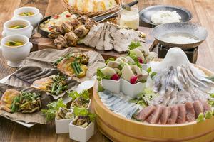 ●秋プラン●秋鮭の朴葉焼きと漁港直送 鮮魚のしゃぶしゃぶ宴席プラン【120分飲み放題付き】