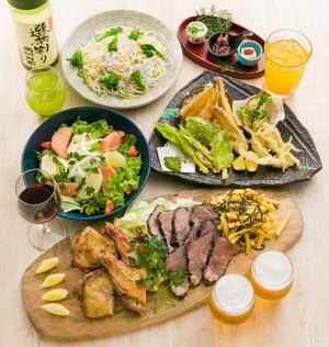 【日〜木限定プラン】名物!肉盛りといろどり10品目の選べるプラン【飲み放題付き】