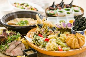 【飲み放題付き】若鶏香味干し炭焼きと桑高農園春野菜の天ぷら皿鉢個室プラン