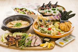 若鶏香味干し炭焼きと桑高農園春野菜の天ぷら皿鉢個室プラン