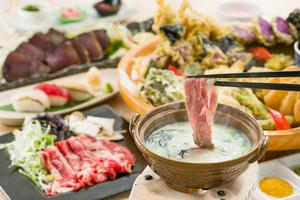 氷温熟成牛の和出汁しゃぶしゃぶと握り寿司会席