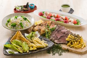 熟成!骨付き肉炭焼きと山菜天ぷらの宴席コース【お料理のみ】