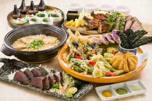 初カツオの藁焼きと桑高農園野菜春野菜の天ぷら皿鉢コース