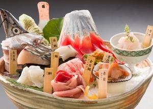 厳選 天然地魚と旬の魚介の刺身「富士山盛り」