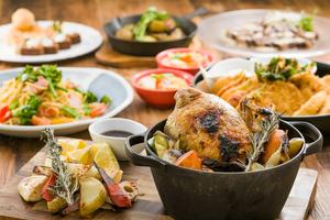 【春の宴会】ダッチオーブンで焼いたローストチキンと地場野菜のグリル付きプラン