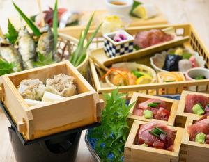 天然南鮪升盛りと富士山幸せ豚・特製肉焼売を愉しむ彩り夏会席