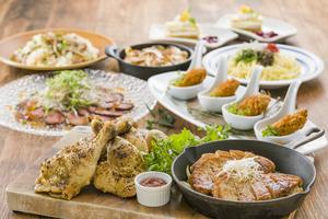 ◆秋プラン◆厚切りポークジンジャーステーキやわらかチキン丸ごとかぶりつきプラン【120分飲み放題付】