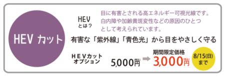 HEVカットオプション限定価格のご案内